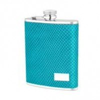 1519- 6 oz Stainless Steel Flask with Blue Lizard Embossed Leather