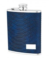 1534- 6 oz Stainless Steel Flask with Black Pthon Embossed Leather