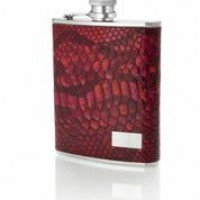 1429- 6 oz Stainless Steel Flask with Italian Genuine Leather Deep Red Snake