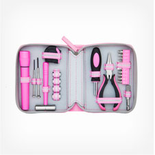 1637- 22 Piece Pink and Grey Tool Kit Set with zipper