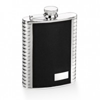 562-809OE- 6oz. Stainless Steel Flask with Metal Strips on Both Side, Black PU Leather