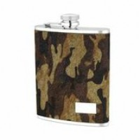 1521- 6 oz. Stainless Steel Flask in Camo Genuine Leather Cover