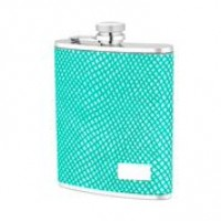 1520- 6 oz Stainless Steel Flask with Green Lizard Embossed Leather