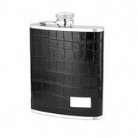 1532- 6 oz Stainless Steel Flask with Black Crocodile Embossed Leather