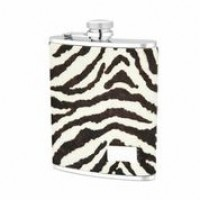 1538- 6 oz. Stainless Steel Flask in Zebra Genuine Leather Cover