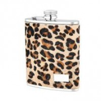 1529- 6 oz. Stainless Steel Flask in Leopard Genuine Leather Cover