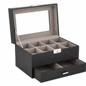 1632-Black Watch Box and cufflink holder